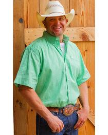 Cinch Men's Green Geo Print Short Sleeve Shirt, , hi-res