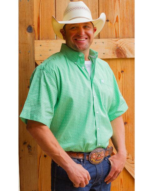 Cinch Men's Green Geo Print Short Sleeve Shirt, Green, hi-res