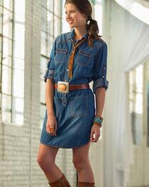 Ryan Michael Women's Denim Shirt Dress , , hi-res