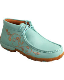 Twisted X Women's Sea Blue Lace-Up Driving Mocs, , hi-res