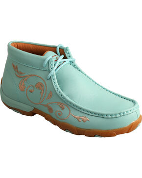 Twisted X Women's Sea Blue Lace-Up Driving Mocs, Blue, hi-res