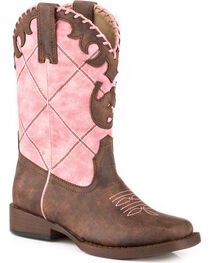 Roper Girls' Pink Diamond Cowgirl Boots - Square Toe, , hi-res