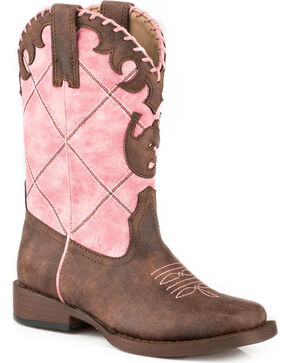 Roper Girls' Pink Diamond Cowgirl Boots - Square Toe, Pink, hi-res