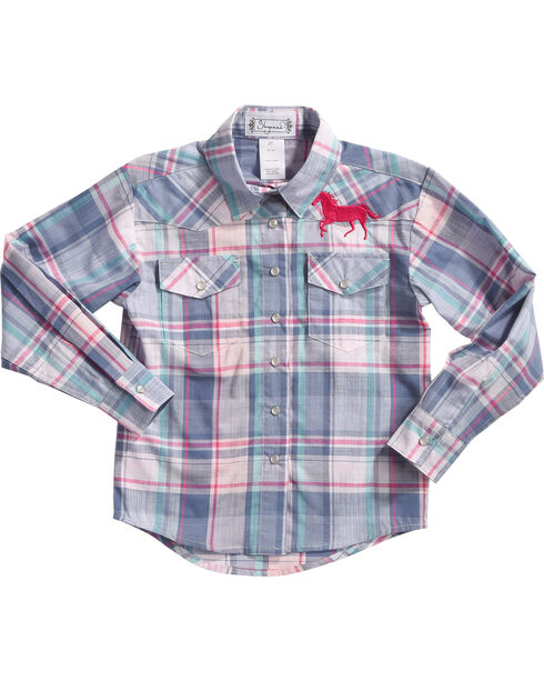 Shyanne® Girls' Plaid Long Sleeve Shirt, Blue, hi-res