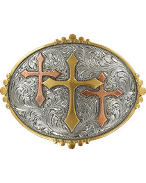 Nocona Silver Triple Cross Belt Buckle , , hi-res