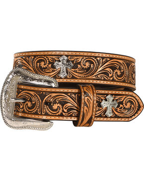 Kids' Embossed Cross Concho Belt, Natural, hi-res
