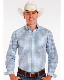 Panhandle Slim Men's Blue Elgin Vintage Dobby Check Print Long Sleeve Shirt , , hi-res