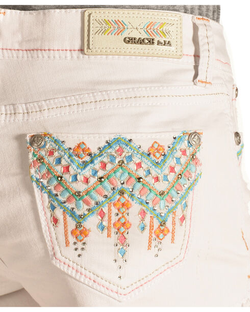 Grace in LA Aztec Stitch White Cutoff Shorts, White, hi-res