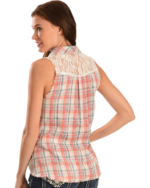 Miss Me Women's Plaid Sleeveless Shirt, Pink, hi-res