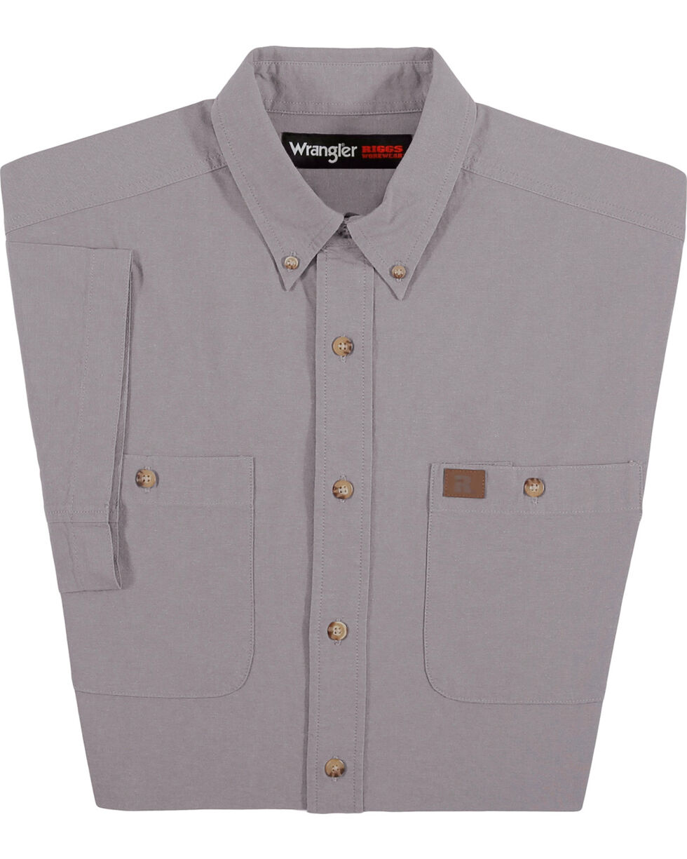 Wrangler Men's Grey Riggs Workwear Chambray Work Shirt , Grey, hi-res