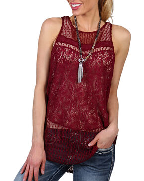 Shyanne Women's Sheer Floral Lace Tank, Burgundy, hi-res