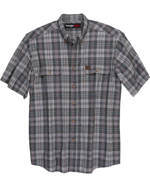 Wrangler Men's Plaid Short Sleeve Shirt  , Charcoal, hi-res