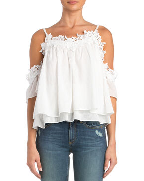 Miss Me Lace Trim Cold Shoulder Top  , White, hi-res