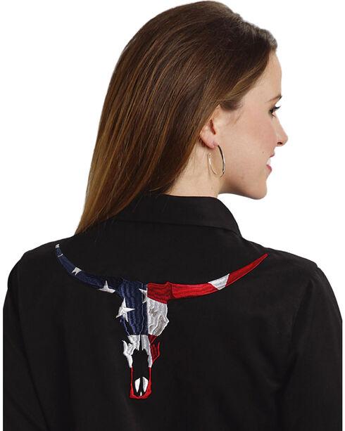 Roper Women's Americana Longhorn Western Shirt, Black, hi-res