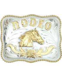 Western Express Men's Rodeo Horsehead German Silver Belt Buckle , , hi-res