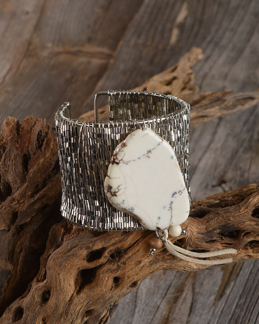 Lost & Found Women's Stone Slab Bugle Bead Cuff Bracelet, Natural, hi-res