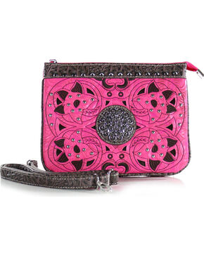 Savana Women's Triple Pocket Crossbody Bag, Hot Pink, hi-res