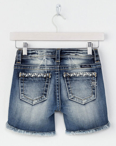 Miss Me Girls' Braided Trim Denim Shorts, Blue, hi-res