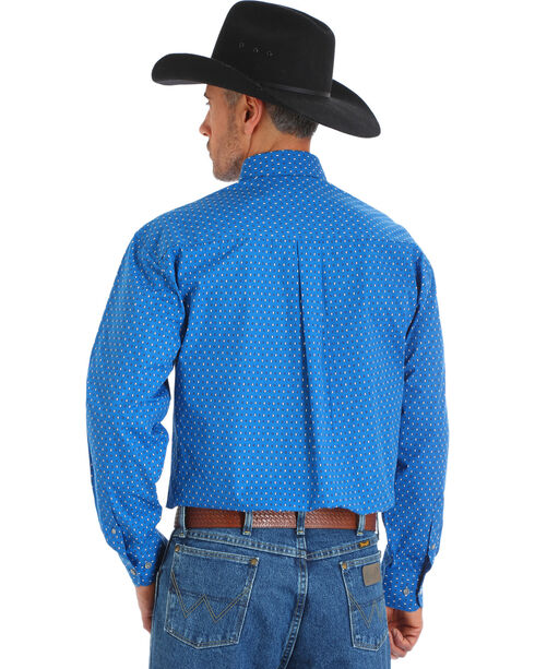 Wrangler George Strait Men's Blue Printed Poplin Button Shirt, Blue, hi-res