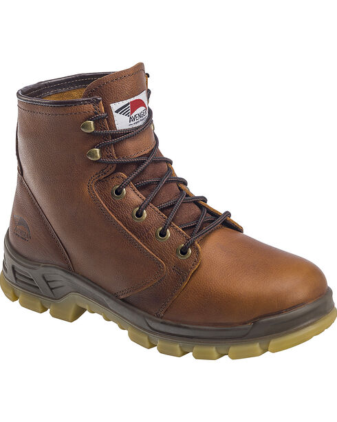 "Avenger Men's Brown 6"" Lace-Up Work Boots - Steel Toe , Brown, hi-res"