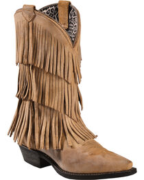 Dingo Women's Triple Layered Fringe Western Fashion Boots, , hi-res