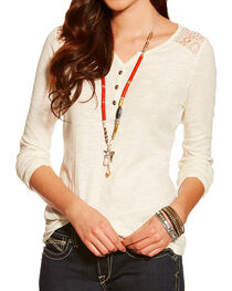Ariat Women's Fate Henley, Natural, hi-res