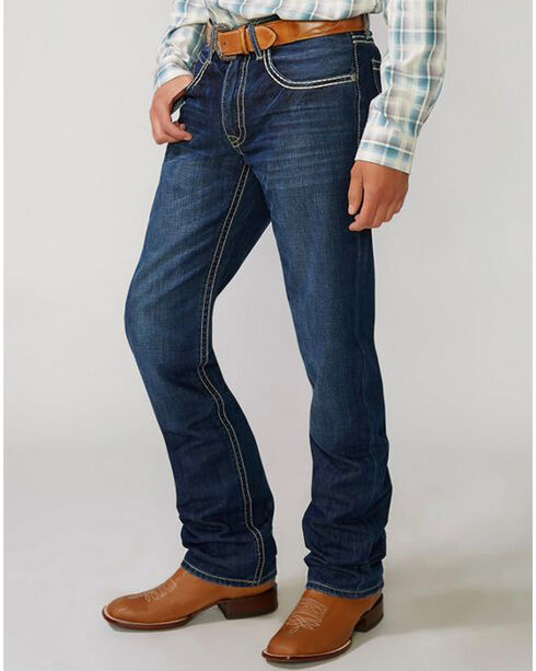 Stetson Men's Rocker Fit Straight Leg Jeans, Med Wash, hi-res