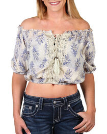 Angie Women's Floral Printed Lace-Up Front Shirt, , hi-res