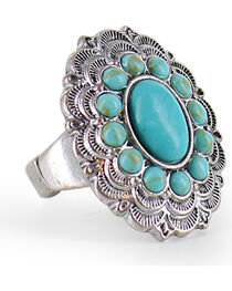 Shyanne® Women's Turquoise Floral Stretch Ring, , hi-res