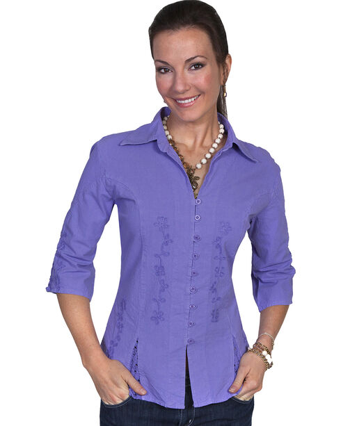 Scully Women's 3/4 Sleeve Blouse, Violet, hi-res