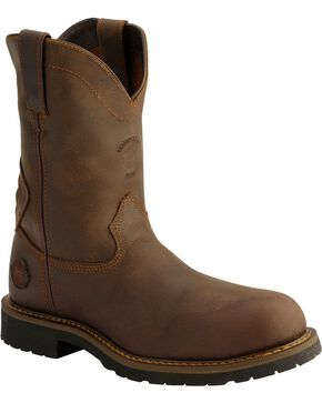 "Justin Men's 11"" Rugged Composition Toe Work Boots, Brown, hi-res"