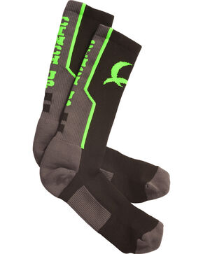 Cinch Men's Grey and Neon Green Boot Socks , Black, hi-res