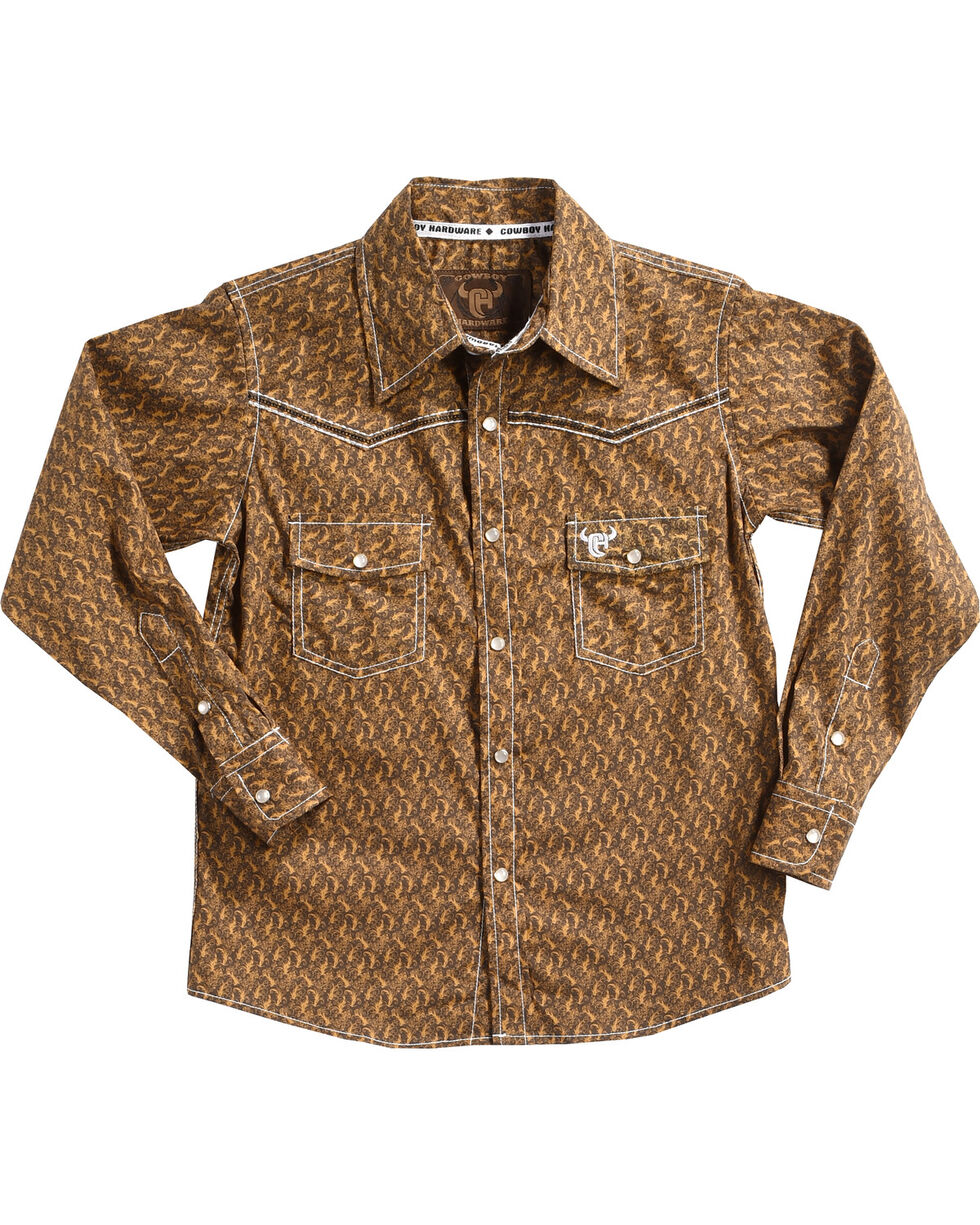 Cowboy Hardware Boys' Scroll Skull Long Sleeve Shirt, Brown, hi-res