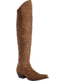 Liberty Black Women's Cheetah Over The Knee Boots - Snip Toe, , hi-res
