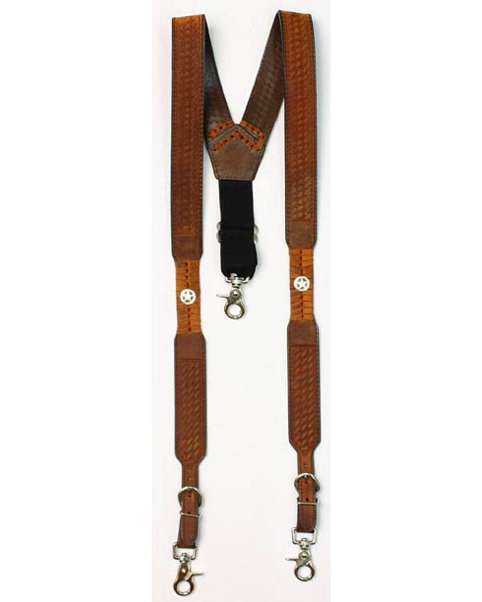 Nocona Embossed Basketweave Star Concho Suspenders, Med Brown, hi-res