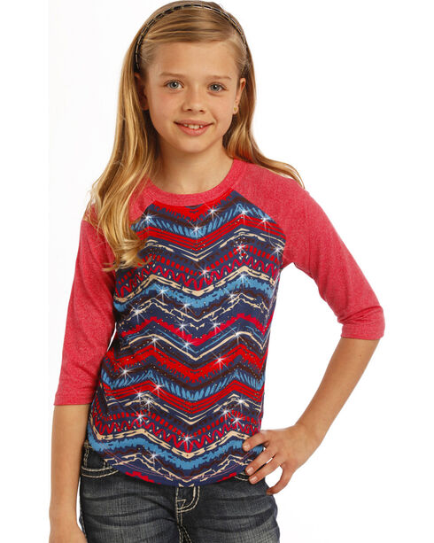 Rock & Roll Cowgirl Girls' Aztec Baseball Tee, , hi-res