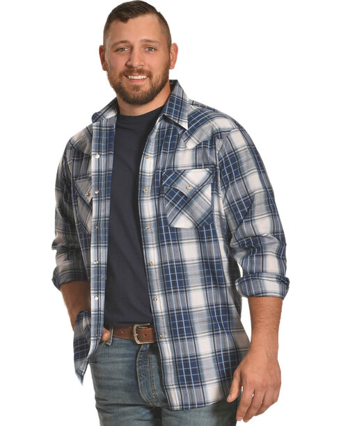 Ely Cattleman Men's Blue Textured Plaid Shirt , Blue, hi-res