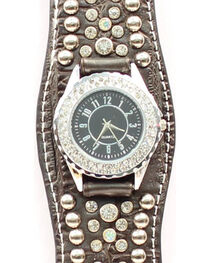 Scalloped Black Croc Print Crystal Watch, , hi-res