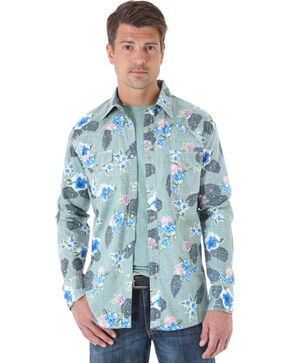 Wrangler 20X Olive Floral Print Western Shirt , Olive, hi-res