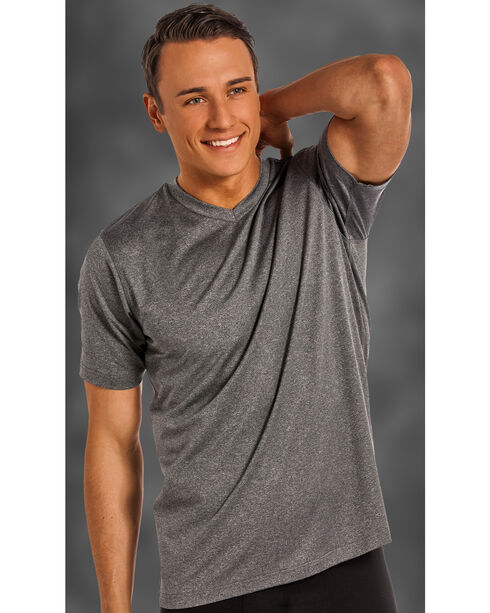 Rock and Roll Cowboy Men's Charcoal Grey V-Neck T-Shirt , Charcoal Grey, hi-res