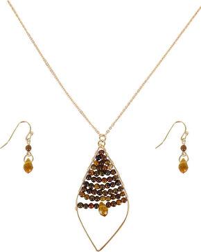 Shyanne® Women's Golden Leaflet Jewelry Set, Silver, hi-res