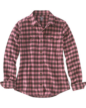 Carhartt Women's Plaid Button Down Flannel, Pink, hi-res
