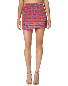 Miss Me Multi-Color Jacquard Front Zip Skirt , Multi, hi-res