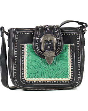Montana West Women's Studded Buckle Concealed Carry Shoulder Bag, Black, hi-res