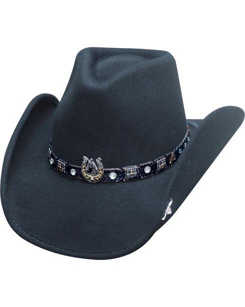 Bullhide Women's Dark Horse Wool Hat, Black, hi-res