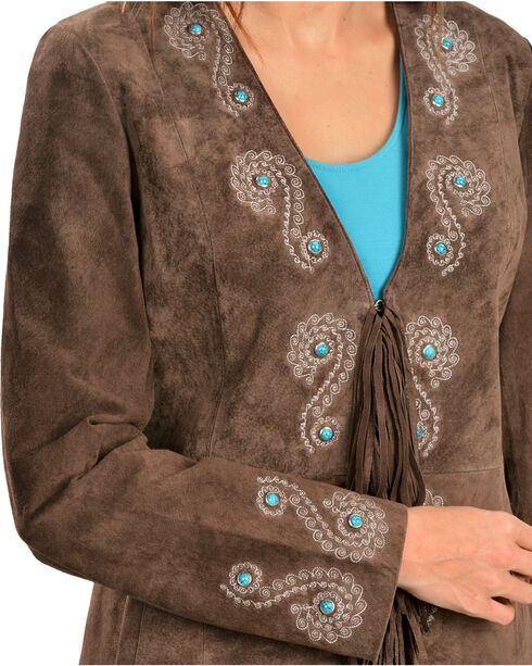 Scully Women's Fringe Embroidered Suede Coat, Brown, hi-res