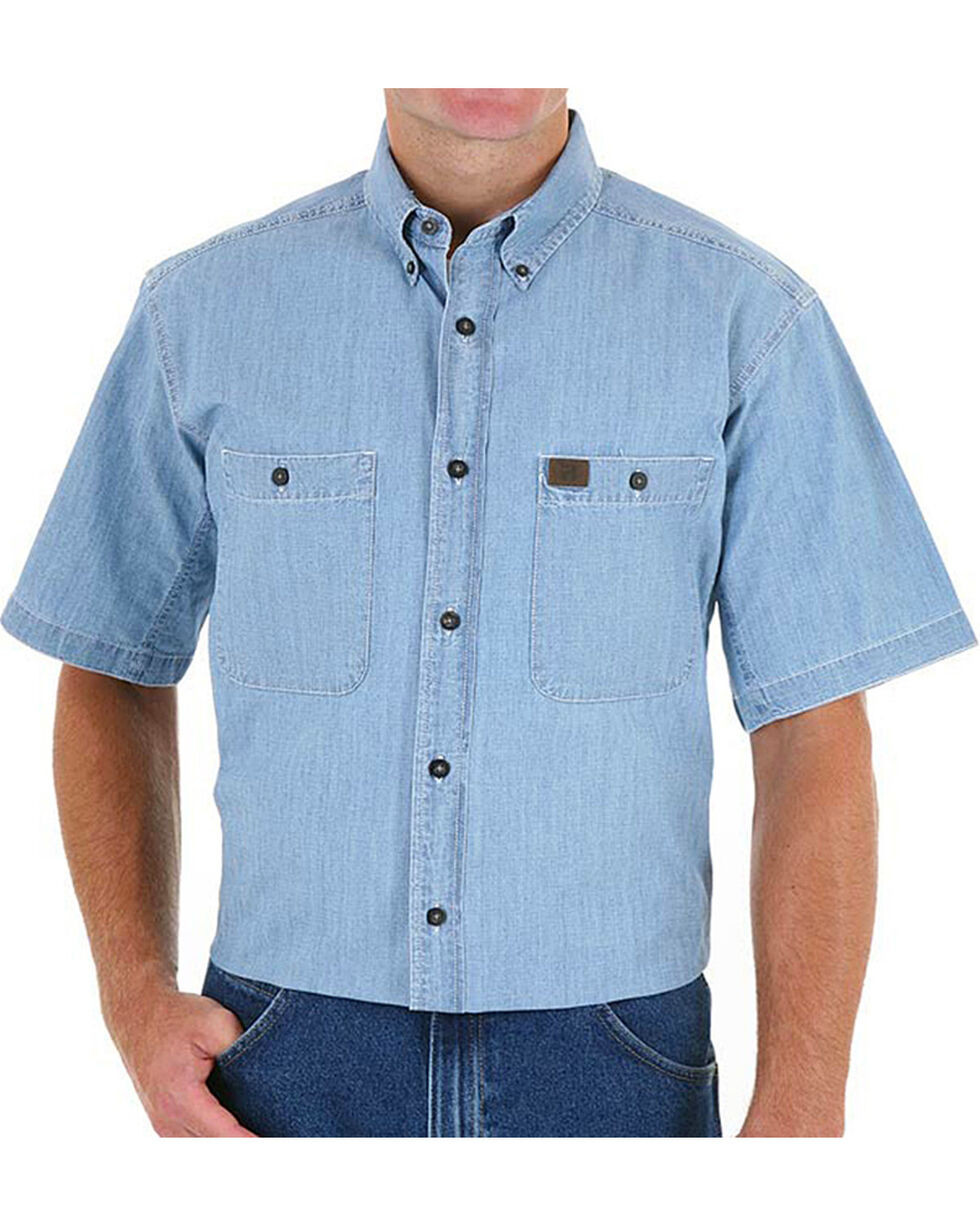Wrangler Men's Blue Riggs Workwear Chambray Work Shirt , Blue, hi-res