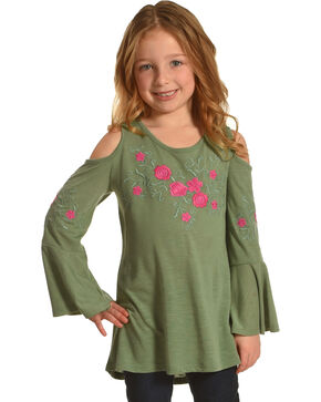 Speechless Girls' Cold Shoulder Embroidered Top , Olive, hi-res