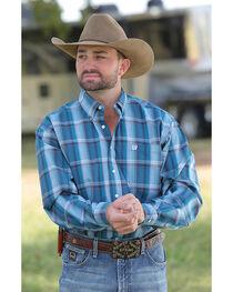 Cinch Men's Teal Plaid Plain Weave Long Sleeve Button Down Shirt, , hi-res