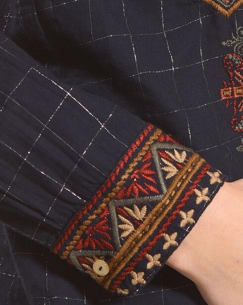 Johnny Was Women's Dark Blue Valea Long Sleeve Basic Shirt , Dark Blue, hi-res